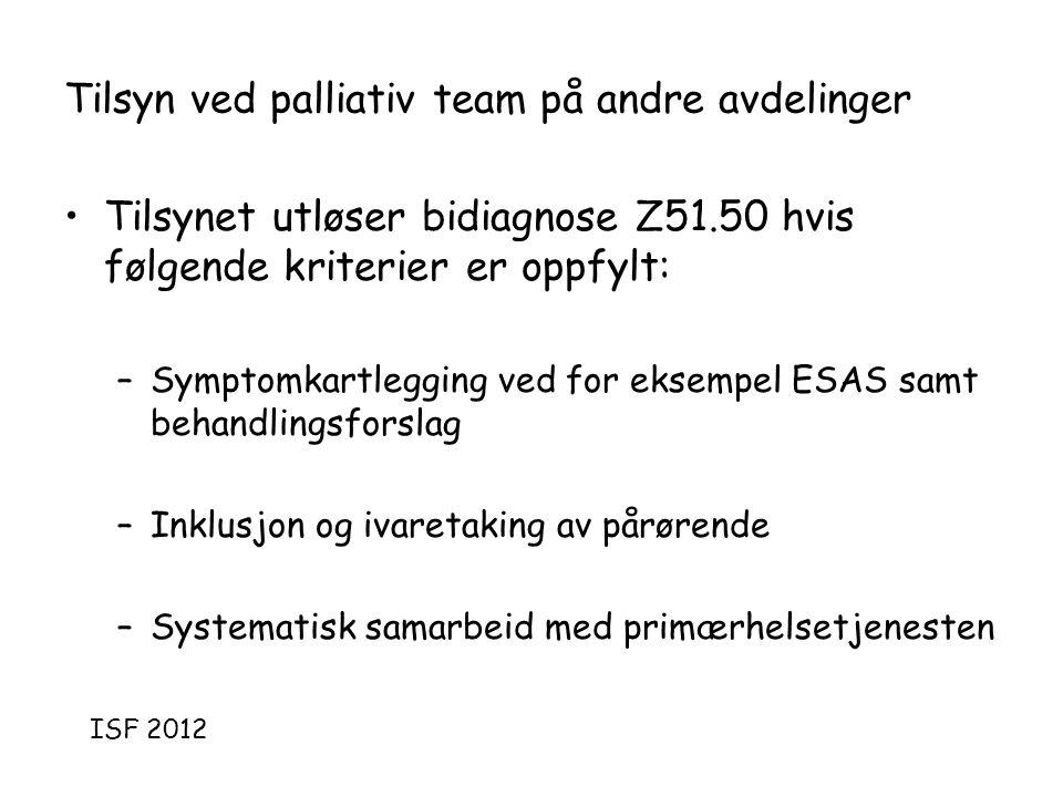 Tilsyn ved palliativ team på andre avdelinger