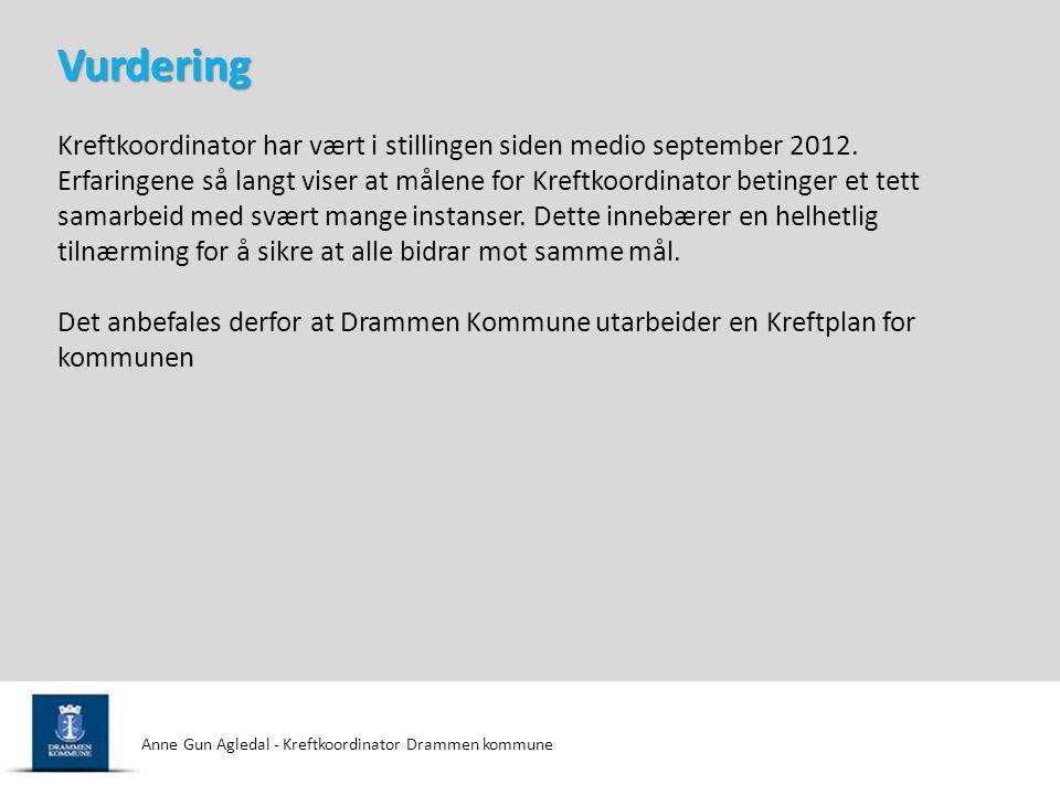 Vurdering Kreftkoordinator har vært i stillingen siden medio september 2012.