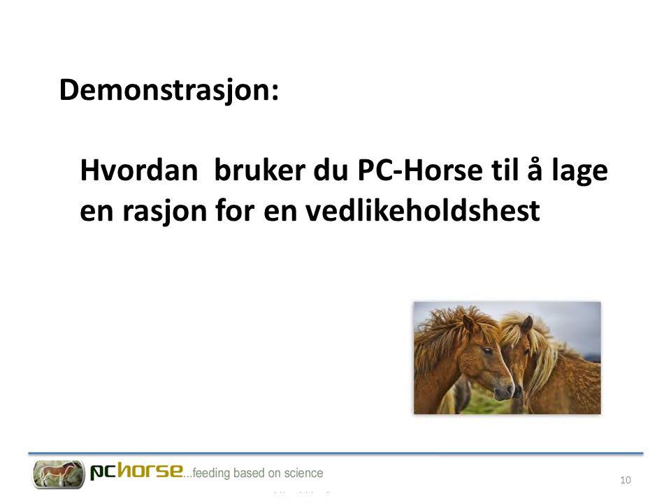 Demonstrasjon: Hvordan bruker du PC-Horse til å lage en rasjon for en vedlikeholdshest