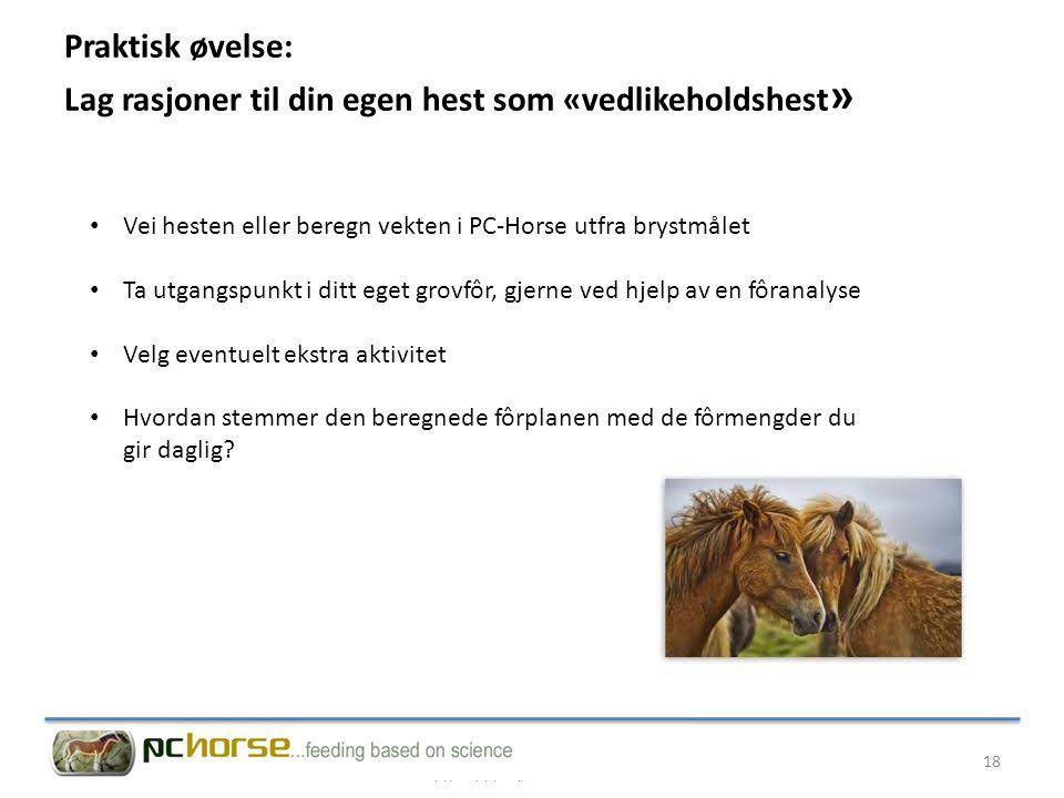 Praktisk øvelse: Lag rasjoner til din egen hest som «vedlikeholdshest»
