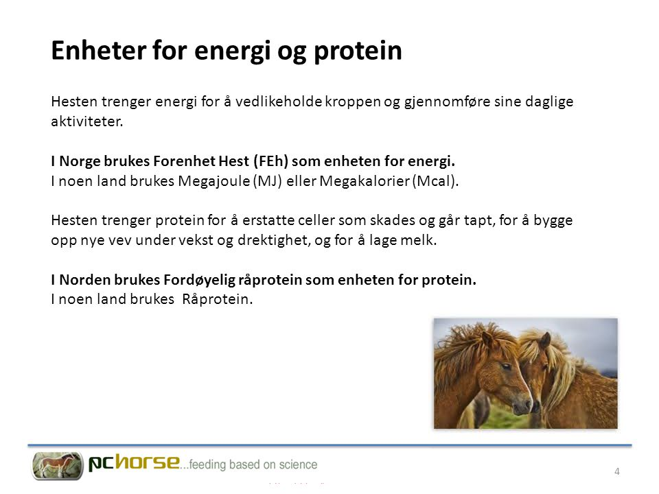 Enheter for energi og protein