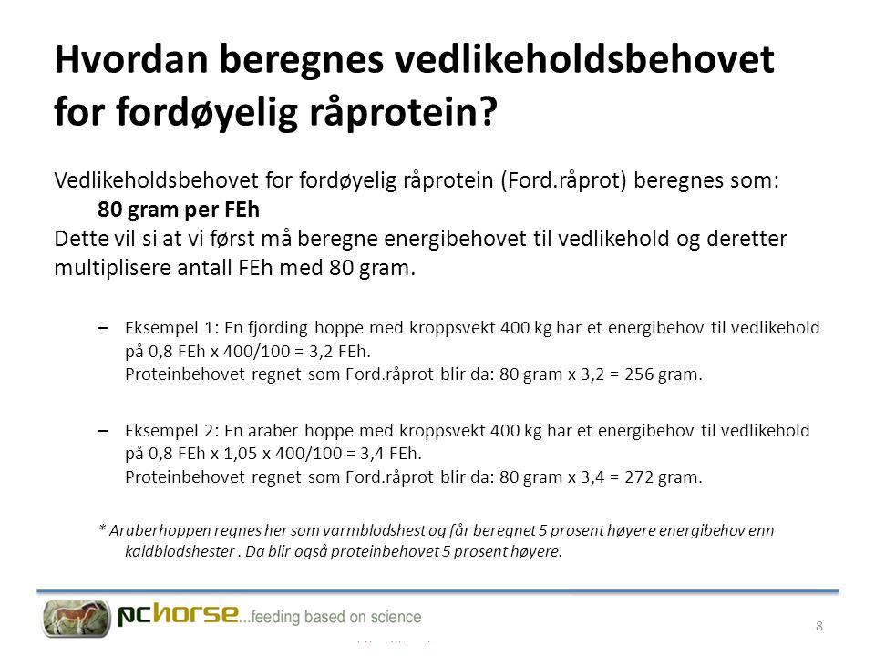 Hvordan beregnes vedlikeholdsbehovet for fordøyelig råprotein
