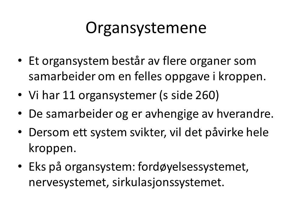 Organsystemene Et organsystem består av flere organer som samarbeider om en felles oppgave i kroppen.