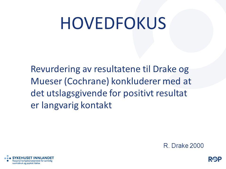 HOVEDFOKUS Revurdering av resultatene til Drake og Mueser (Cochrane) konkluderer med at det utslagsgivende for positivt resultat er langvarig kontakt.