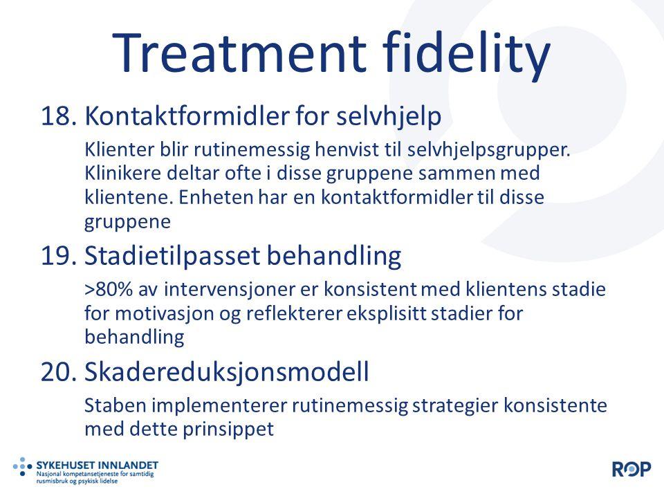 Treatment fidelity Kontaktformidler for selvhjelp