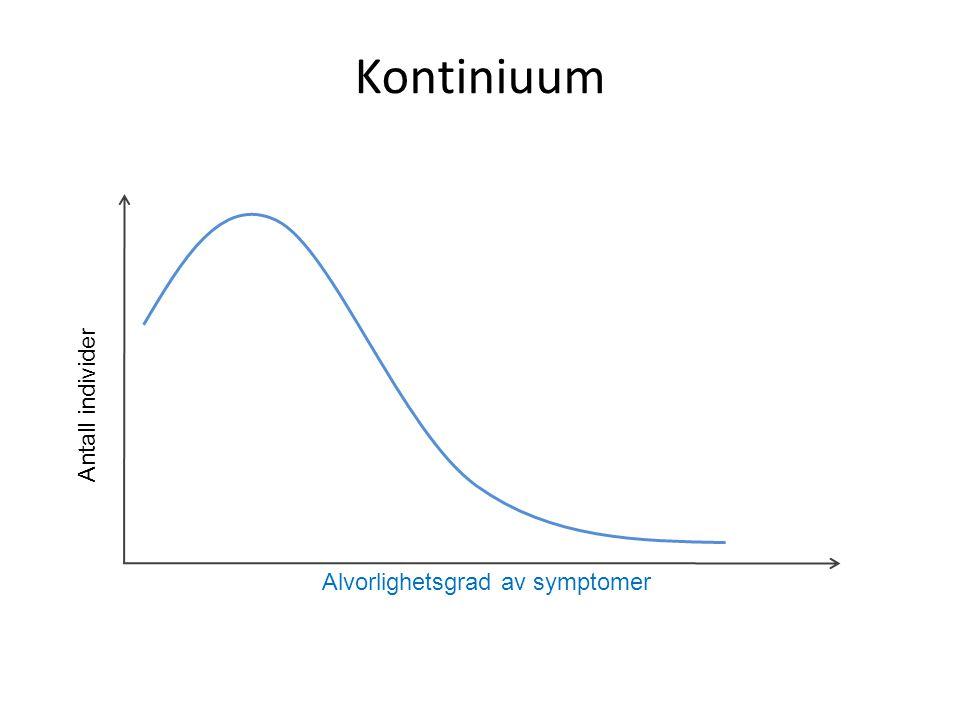 Kontiniuum Antall individer Alvorlighetsgrad av symptomer