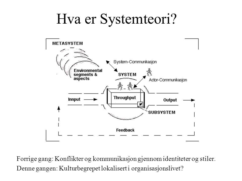 Araki Hva er Systemteori Forrige gang: Konflikter og kommunikasjon gjennom identiteter og stiler.