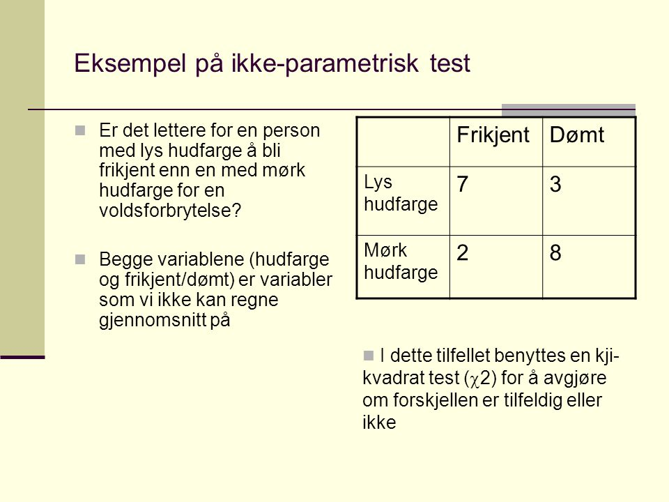 Eksempel på ikke-parametrisk test