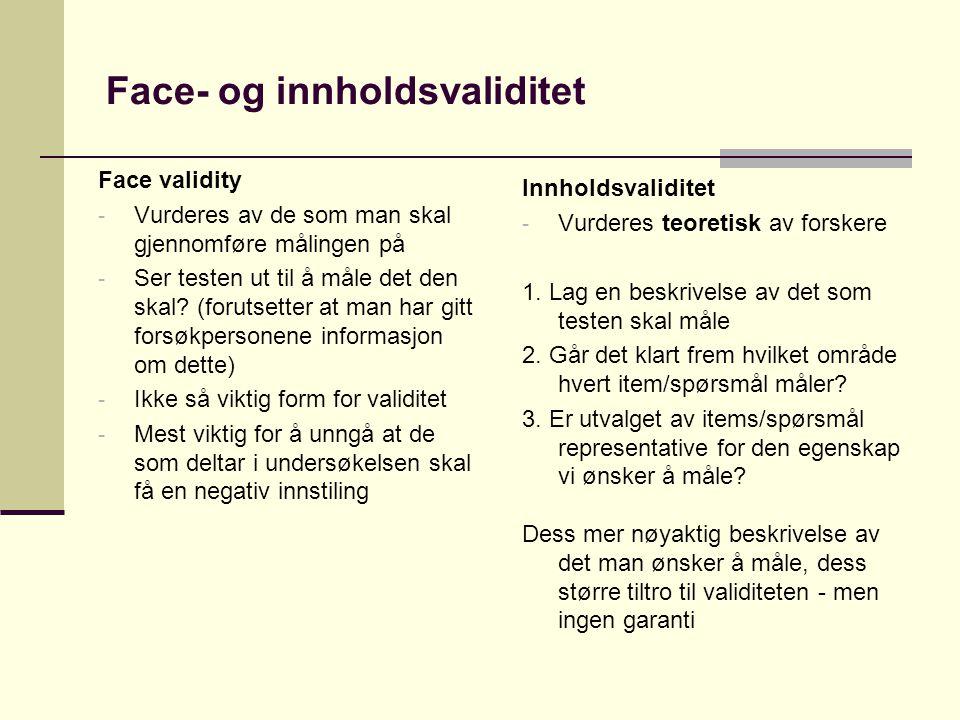 Face- og innholdsvaliditet