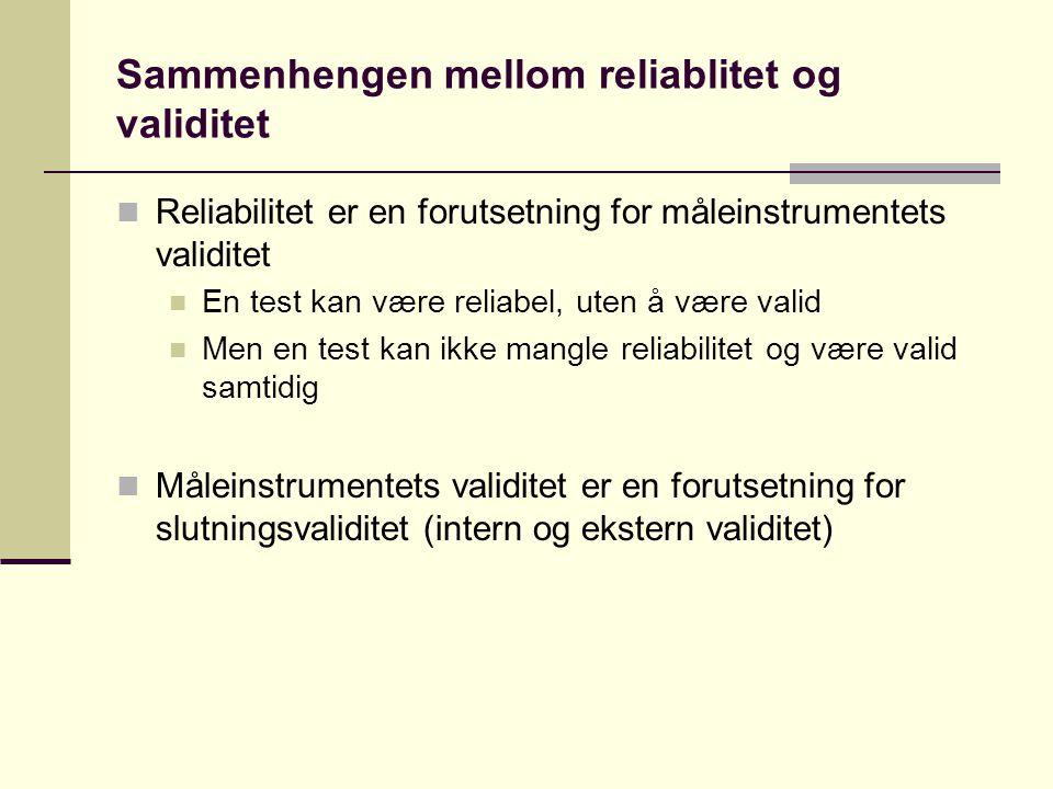 Sammenhengen mellom reliablitet og validitet
