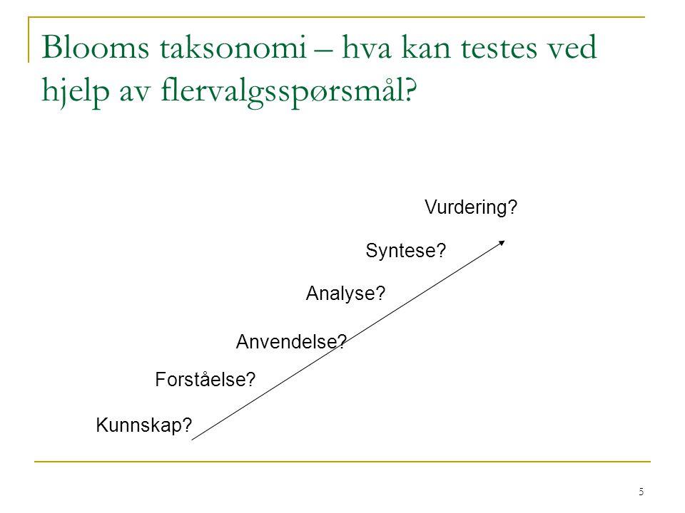 Blooms taksonomi – hva kan testes ved hjelp av flervalgsspørsmål