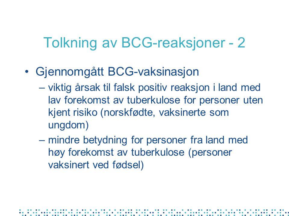 Tolkning av BCG-reaksjoner - 2
