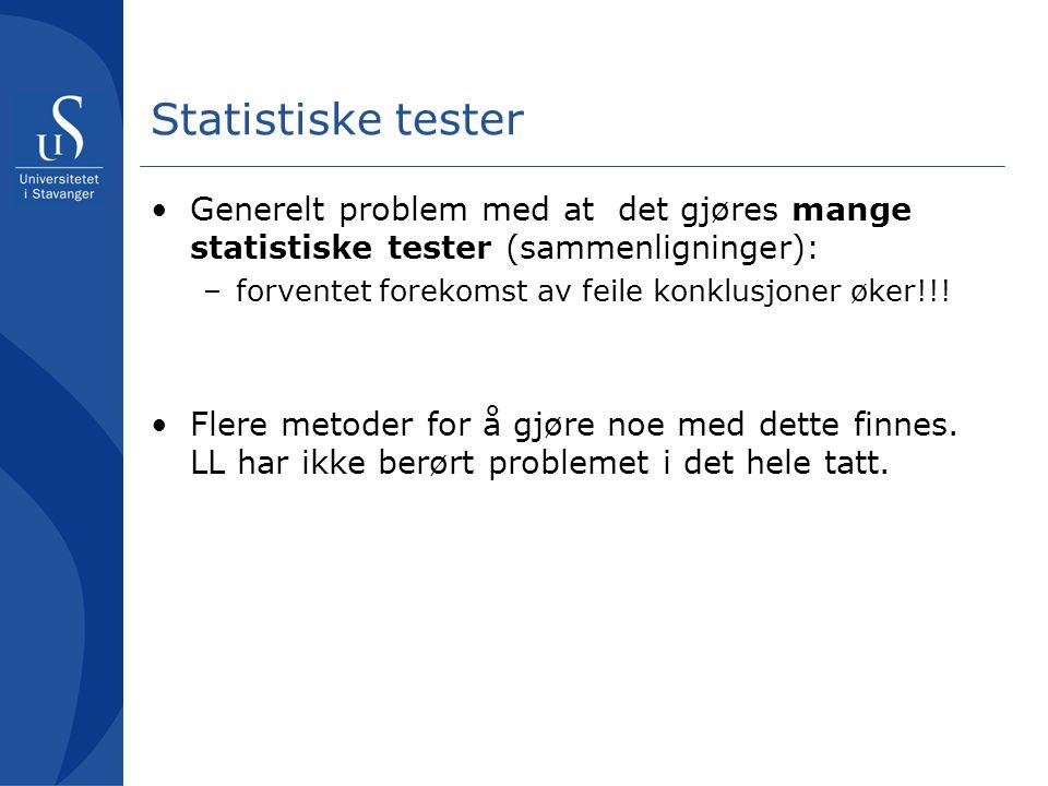 Statistiske tester Generelt problem med at det gjøres mange statistiske tester (sammenligninger): forventet forekomst av feile konklusjoner øker!!!