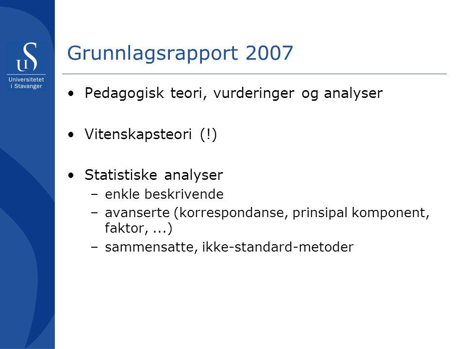 Grunnlagsrapport 2007 Pedagogisk teori, vurderinger og analyser