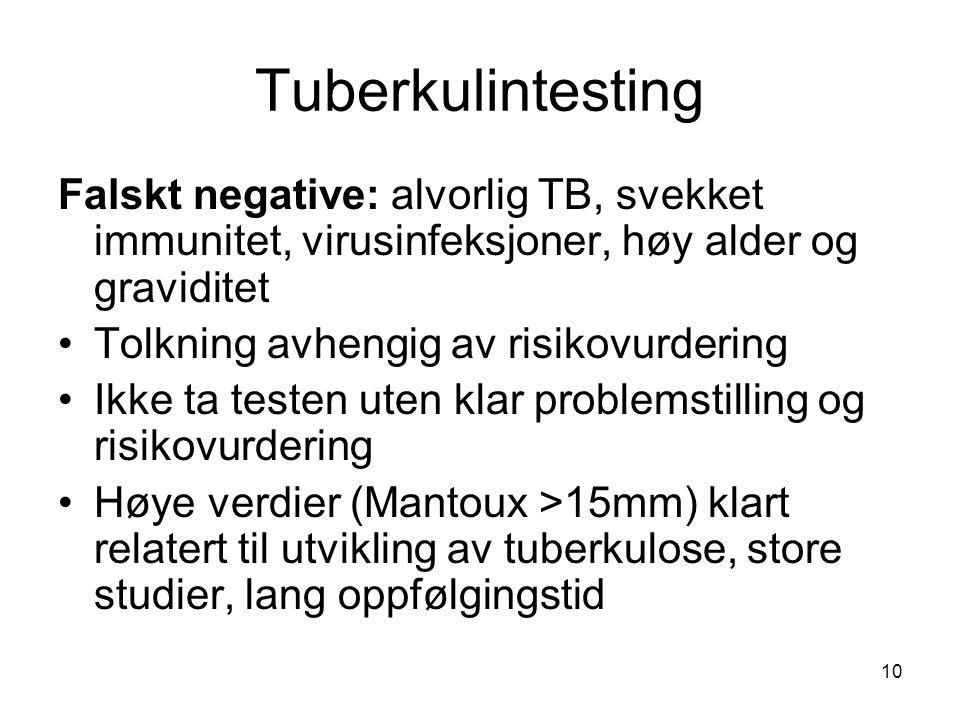Tuberkulintesting Falskt negative: alvorlig TB, svekket immunitet, virusinfeksjoner, høy alder og graviditet.