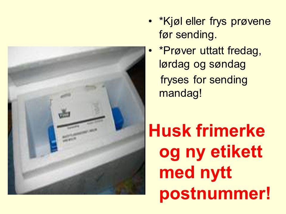 Husk frimerke og ny etikett med nytt postnummer!