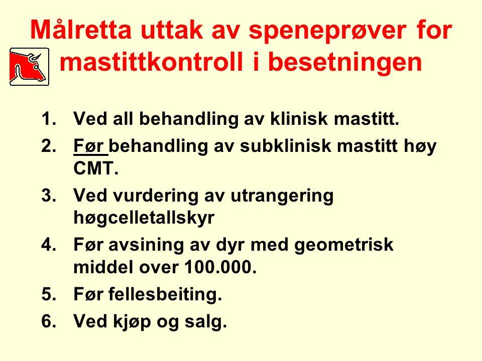 Målretta uttak av speneprøver for mastittkontroll i besetningen