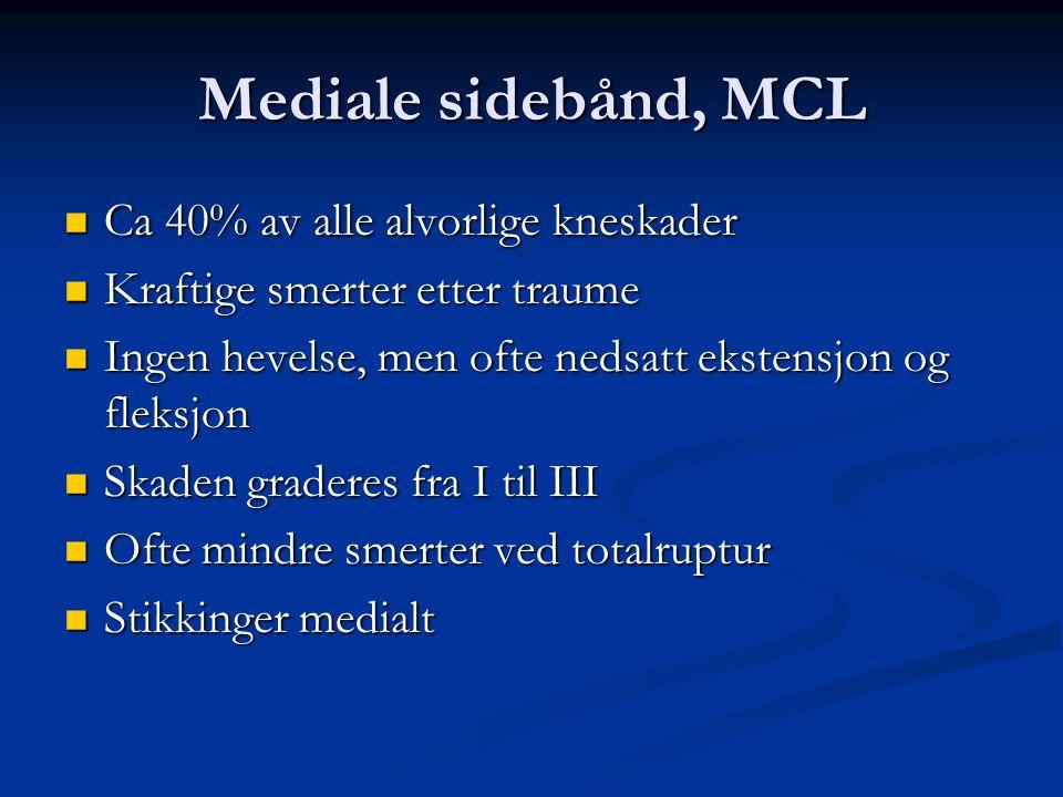 Mediale sidebånd, MCL Ca 40% av alle alvorlige kneskader