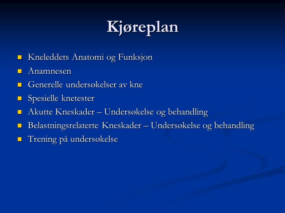 Kjøreplan Kneleddets Anatomi og Funksjon Anamnesen