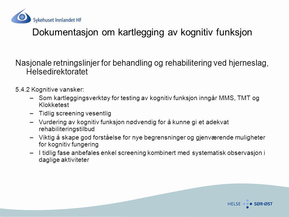Dokumentasjon om kartlegging av kognitiv funksjon