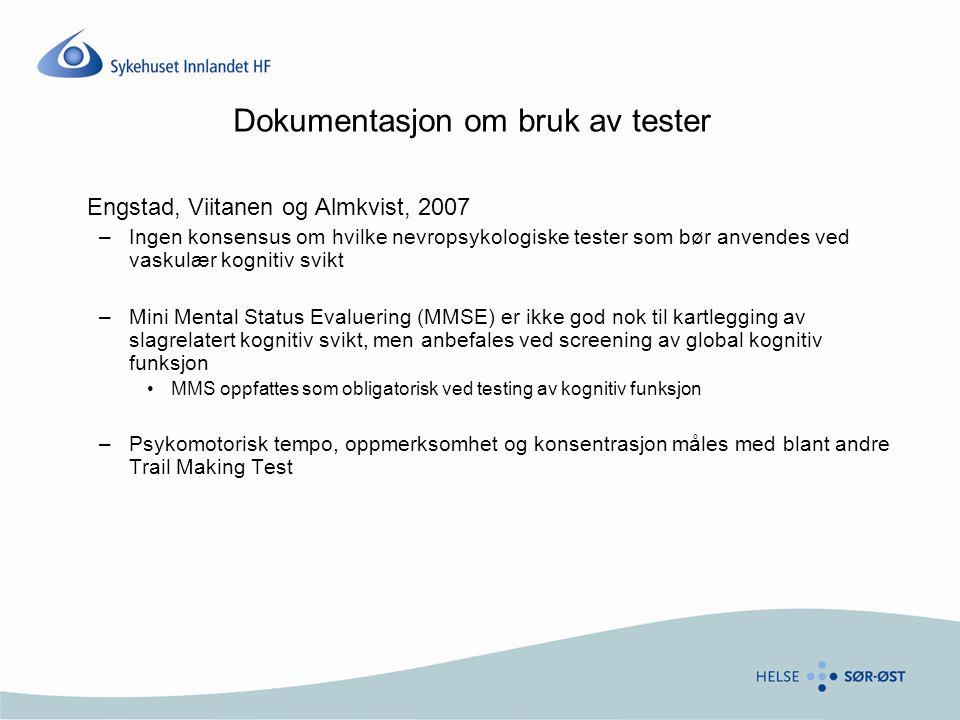 Dokumentasjon om bruk av tester