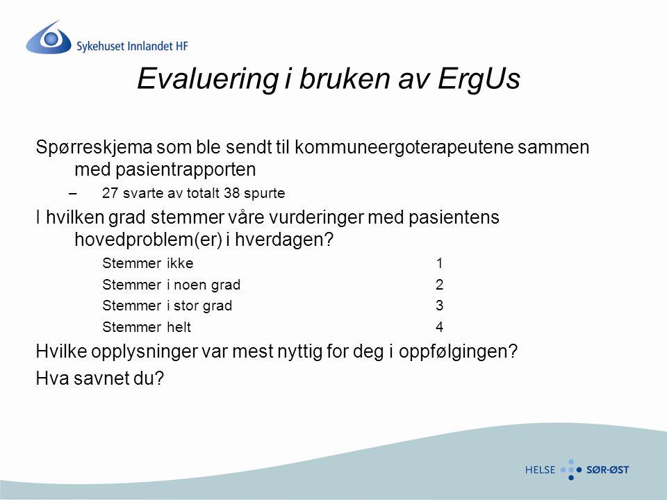 Evaluering i bruken av ErgUs