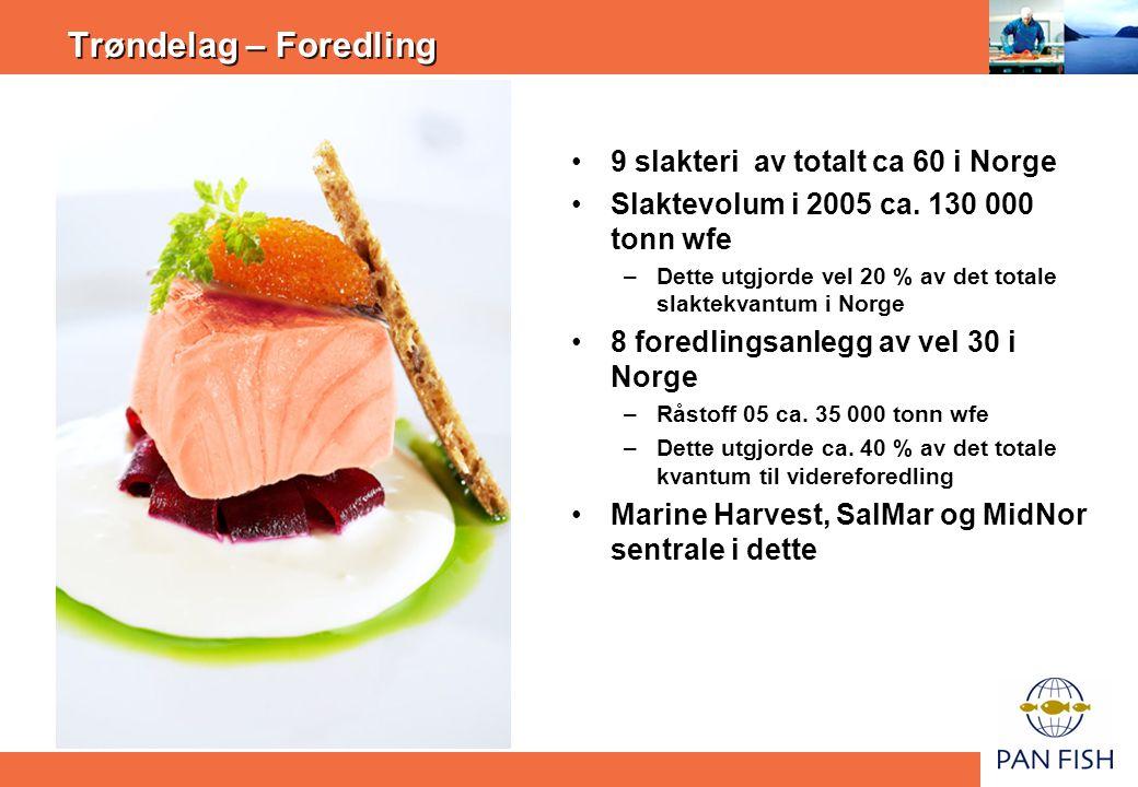 Trøndelag – Foredling 9 slakteri av totalt ca 60 i Norge