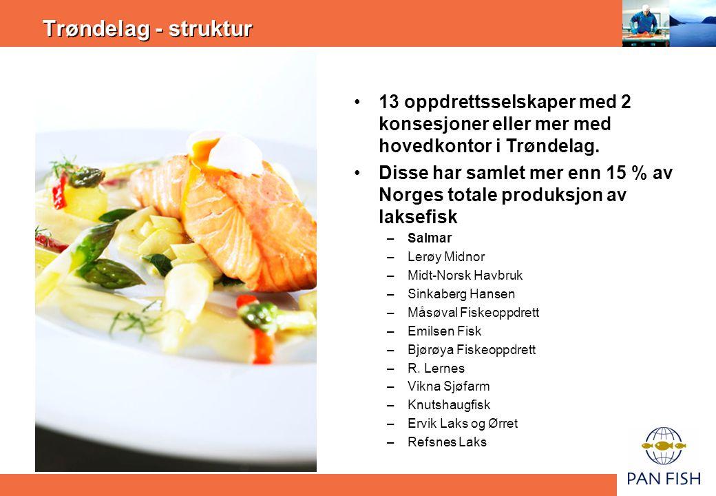 Trøndelag - struktur 13 oppdrettsselskaper med 2 konsesjoner eller mer med hovedkontor i Trøndelag.