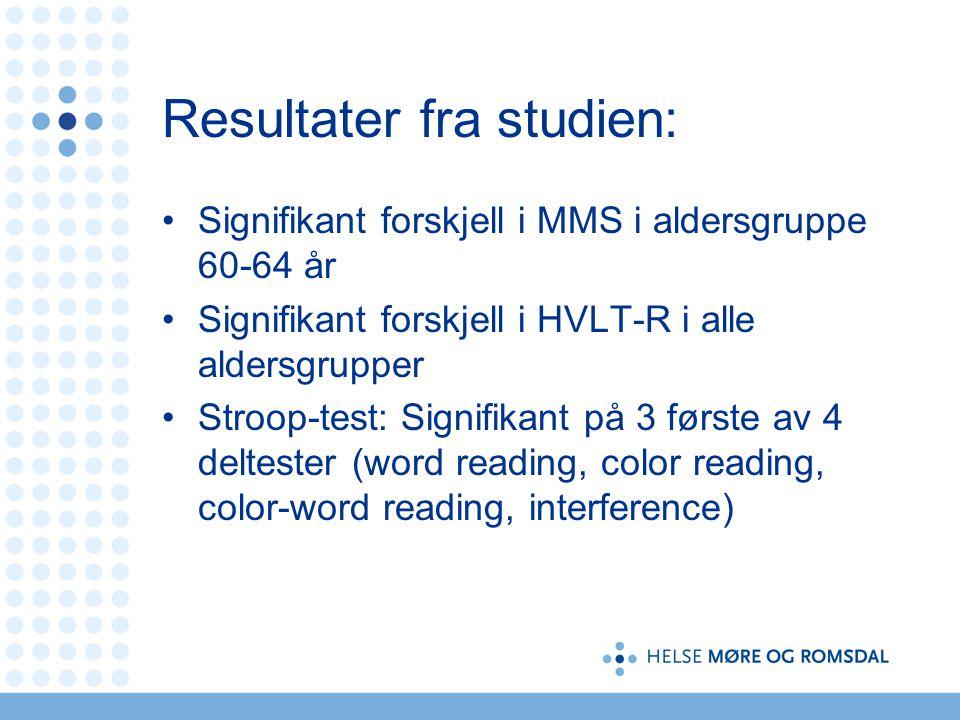 Resultater fra studien:
