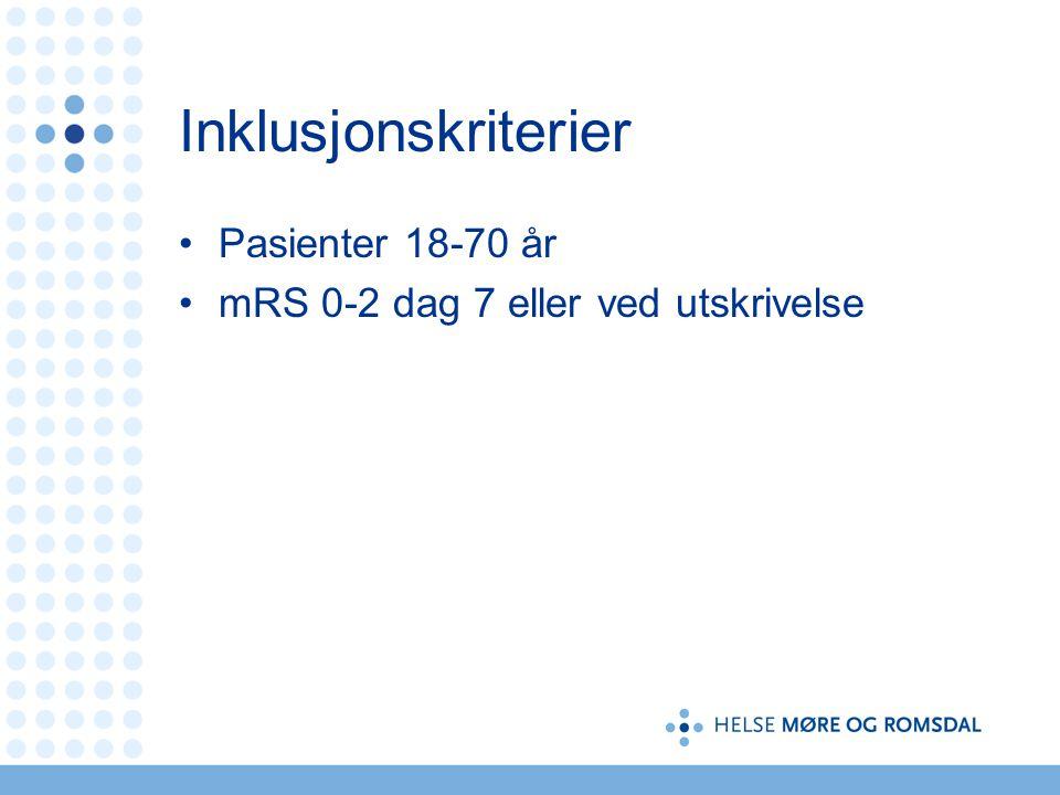 Inklusjonskriterier Pasienter 18-70 år