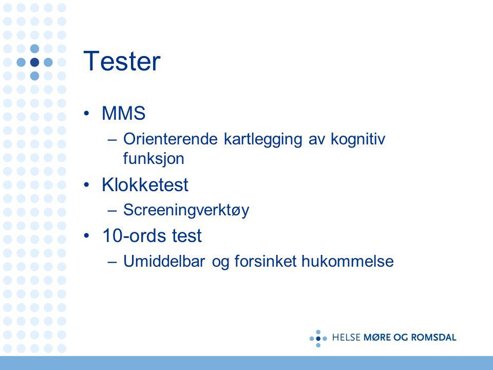 Tester MMS Klokketest 10-ords test
