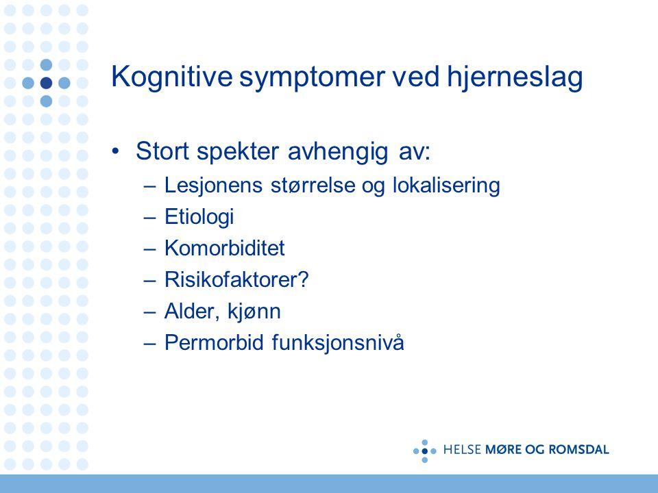 Kognitive symptomer ved hjerneslag