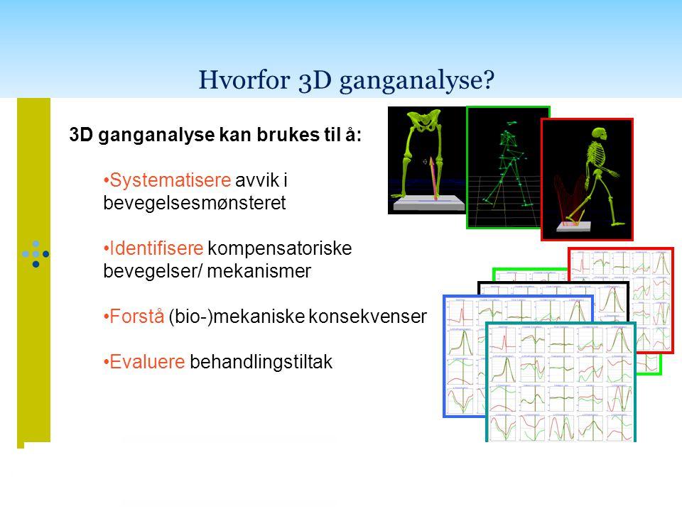 Hvorfor 3D ganganalyse 3D ganganalyse kan brukes til å: