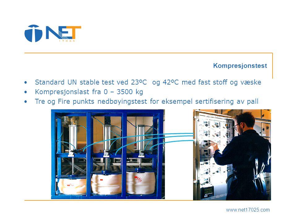 Standard UN stable test ved 23ºC og 42ºC med fast stoff og væske