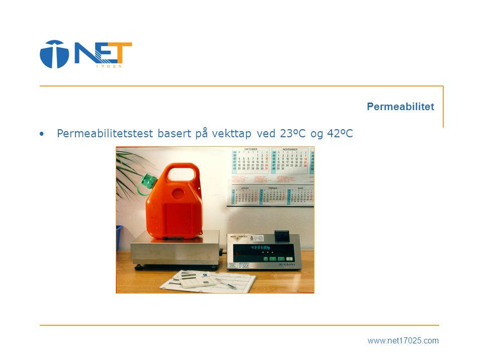 Permeabilitetstest basert på vekttap ved 23ºC og 42ºC