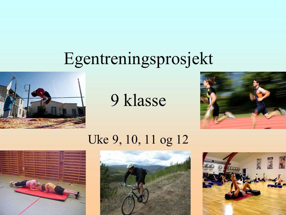 Egentreningsprosjekt 9 klasse Uke 9, 10, 11 og 12