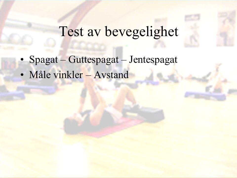 Test av bevegelighet Spagat – Guttespagat – Jentespagat
