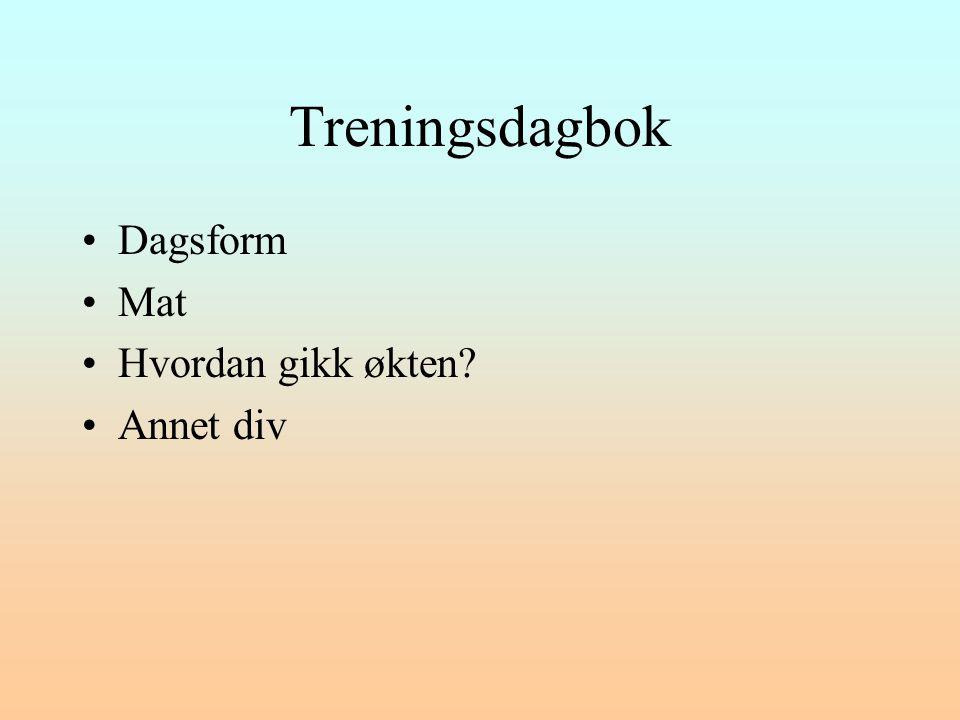 Treningsdagbok Dagsform Mat Hvordan gikk økten Annet div