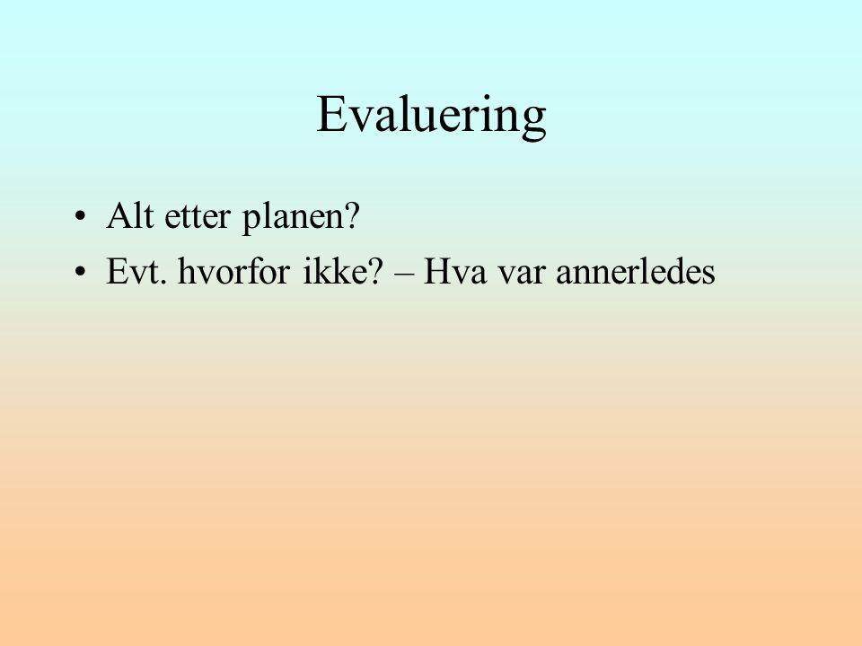 Evaluering Alt etter planen Evt. hvorfor ikke – Hva var annerledes