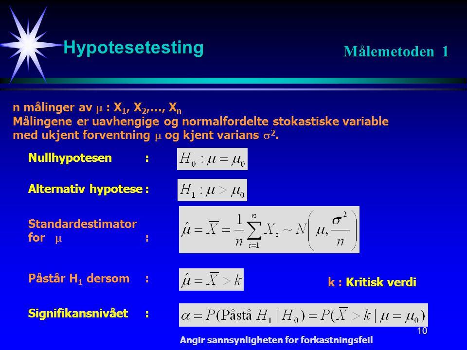 Hypotesetesting Målemetoden 1 n målinger av  : X1, X2,…, Xn