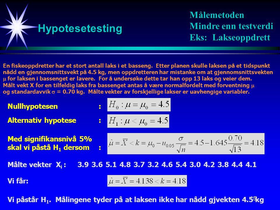 Hypotesetesting Målemetoden Mindre enn testverdi Eks: Lakseoppdrett