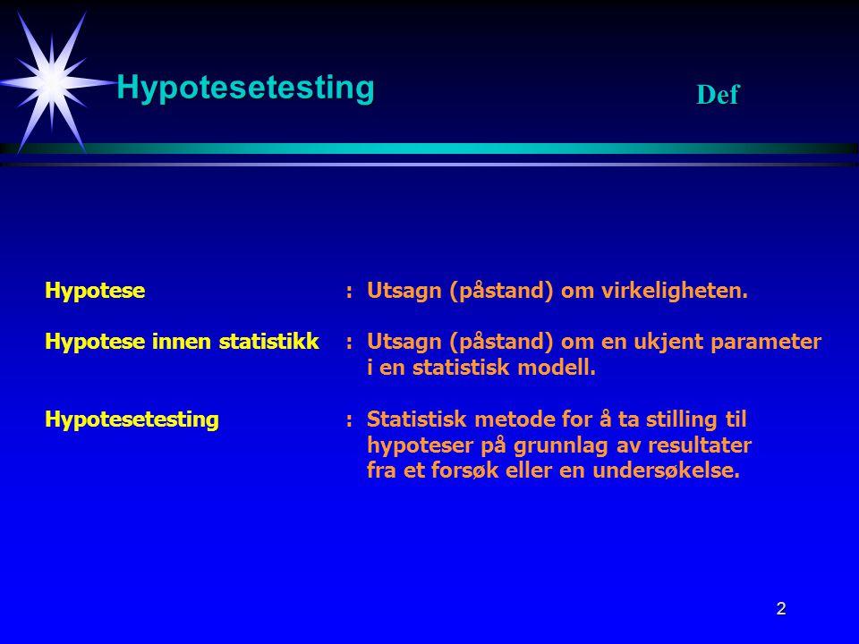 Hypotesetesting Def Hypotese : Utsagn (påstand) om virkeligheten.