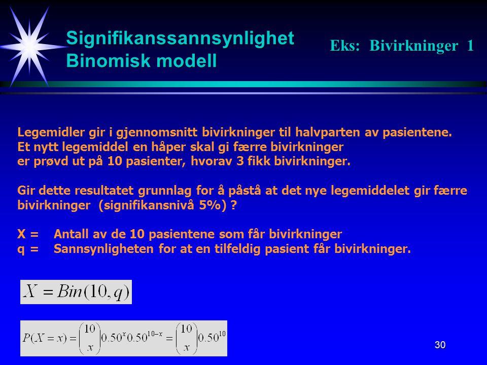 Signifikanssannsynlighet Binomisk modell