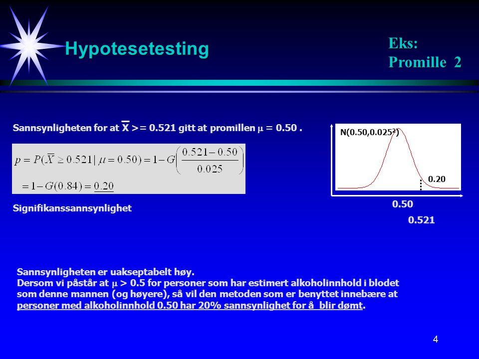 Hypotesetesting Eks: Promille 2