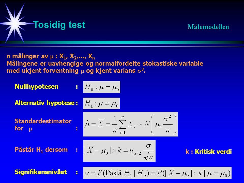 Tosidig test Målemodellen n målinger av  : X1, X2,…, Xn