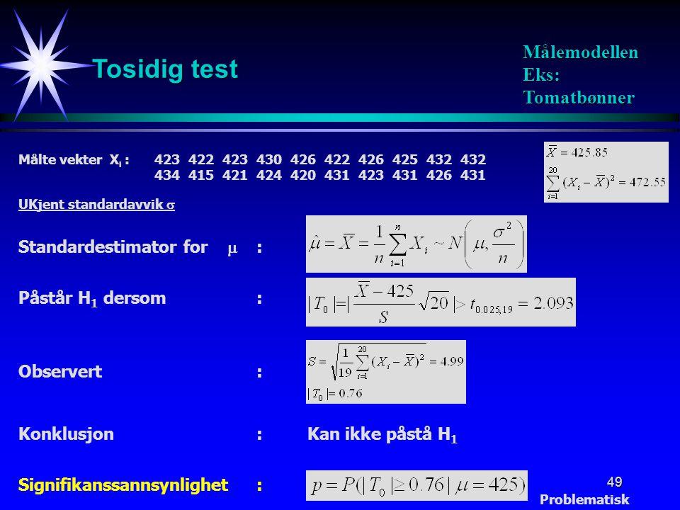 Tosidig test Målemodellen Eks: Tomatbønner Standardestimator for  :