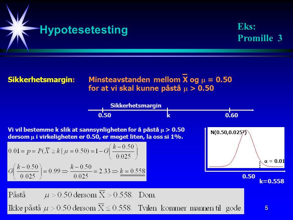 Hypotesetesting Eks: Promille 3