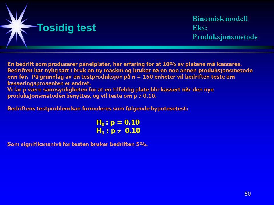 Tosidig test Binomisk modell Eks: Produksjonsmetode