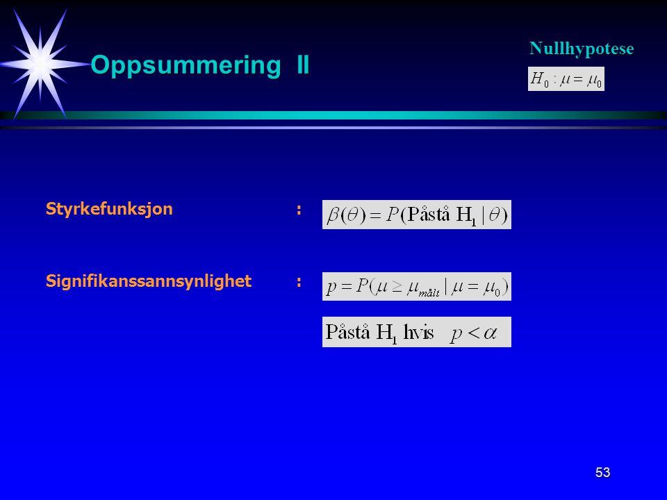 Oppsummering II Nullhypotese Styrkefunksjon :
