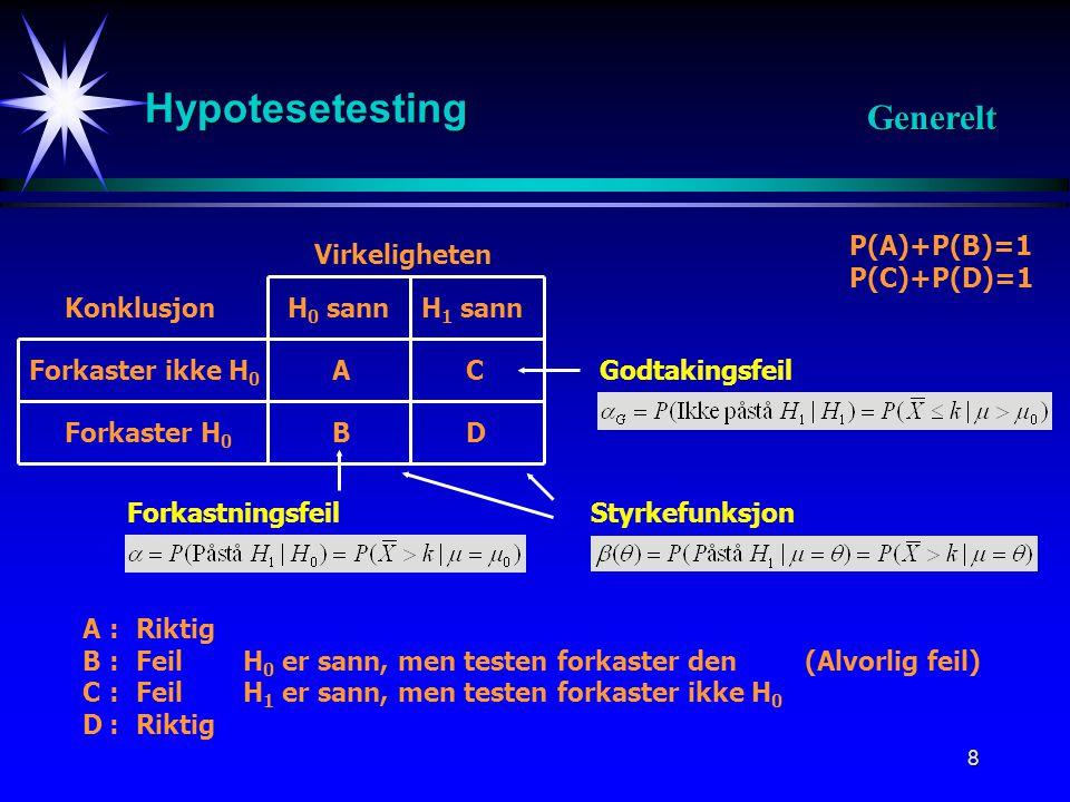 Hypotesetesting Generelt P(A)+P(B)=1 P(C)+P(D)=1 Virkeligheten